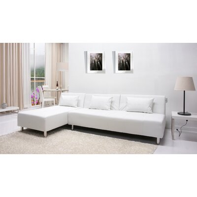 Ricardo Reversible Chaise Sectional Upholstery: White