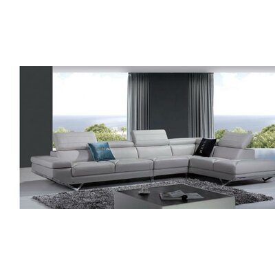 Alsatia Leather Sectional Upholstery: Light Gray