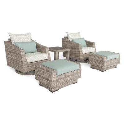 Greenfield Deluxe 5 Piece Deep Seating Group Fabric: Spa Blue
