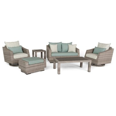Greenfield Deluxe Love and Motion 6 Piece Deep Seating Group Fabric: Spa Blue