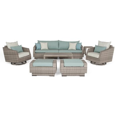 Greenfield Deluxe 8 Piece Deep Seating Group Fabric: Spa Blue