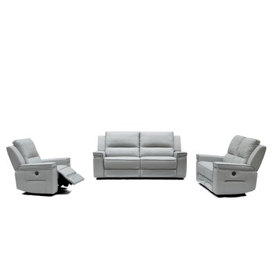Colmar 3 Piece Leather Sofa Set with Recliner