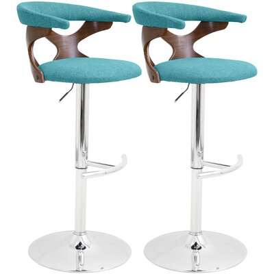 East Wakulla Swivel Bar Stool Upholstery: Teal