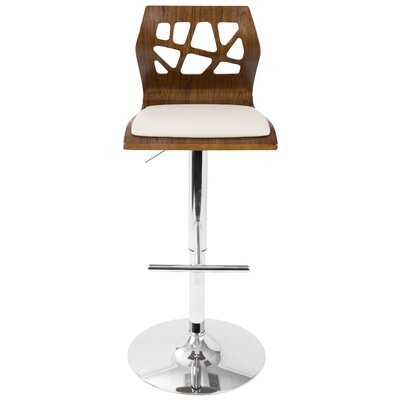Dallas Swivel Adjustable Height Bar Stool Upholstery: Walnut/ Cream