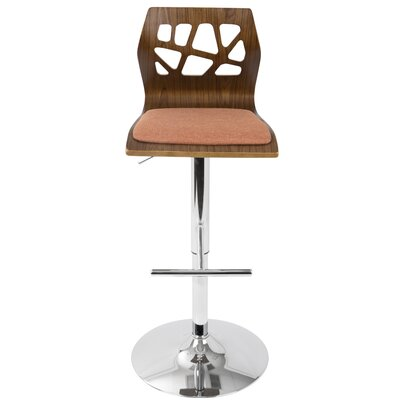 Dallas Swivel Adjustable Height Bar Stool Upholstery: Walnut/ Orange