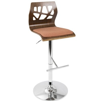 Little Badminton Swivel Adjustable Height Bar Stool Upholstery: Walnut/ Orange