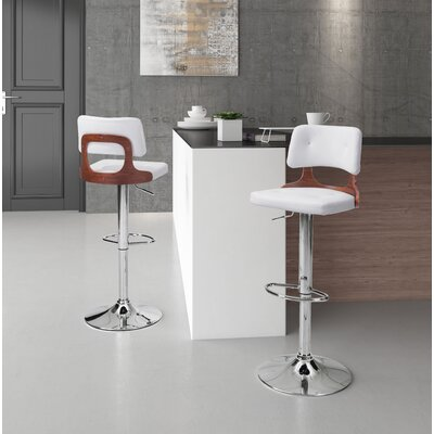 Peter Adjustable Height Bar Stool Upholstery: White