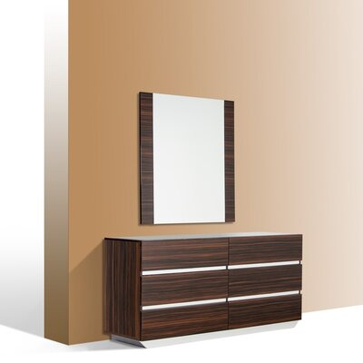 6 Drawer Dresser with Mirror Color: Ebony