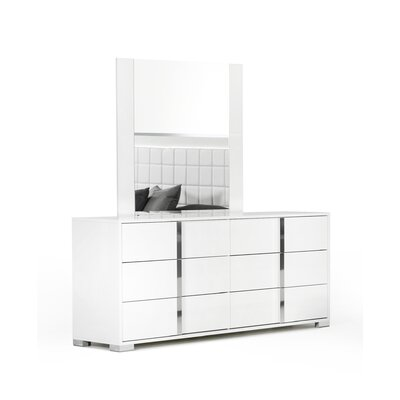 6 Drawer Dresser with Mirror Color: White