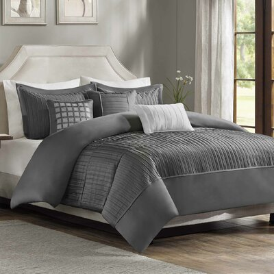 Quinn 6 Piece Duvet Cover Set Size: King/California King, Color: Gray