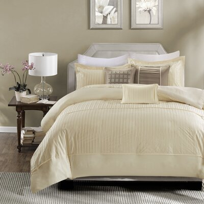 Quinn 6 Piece Duvet Cover Set Size: King/California King, Color: Ivory