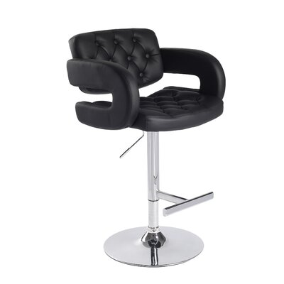 Camron Adjustable Height Swivel Bar Stool Upholstery: Black