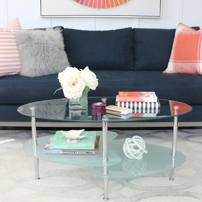 Efraim Glass Oval Coffee Table