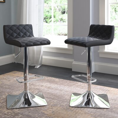 Aero Adjustable Height Swivel Bar Stool with Cushion Upholstery: Black