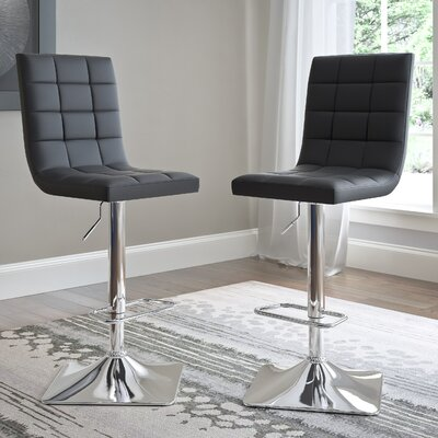 Martins Adjustable Height Swivel Bar Stool Upholstery: Black