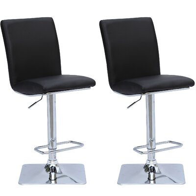 Chappelle Adjustable Height Swivel Bar Stool Upholstery: Black
