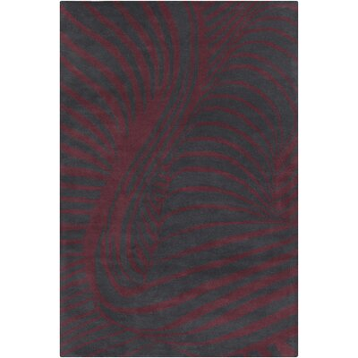 Saxon Hand Tufted Wool Black/Burgundy Area Rug Rug Size: 8 x 10