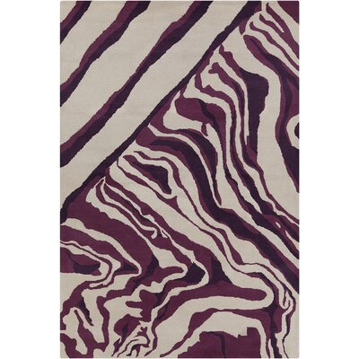 Saxon Hand Tufted Wool Cream/Purple Area Rug Rug Size: 5' x 7'6