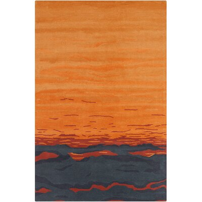 Saxon Hand Tufted Wool Orange/Blue Area Rug Rug Size: 5 x 76