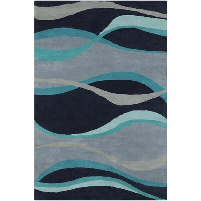 Saxon Hand Tufted Wool Blue Area Rug Rug Size: 8 x 10
