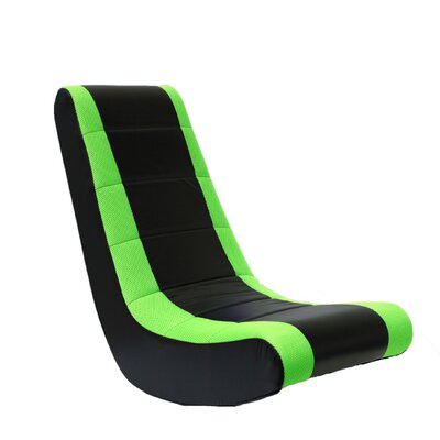 Rocker Gaming Chair Color: Black with Green Stripe