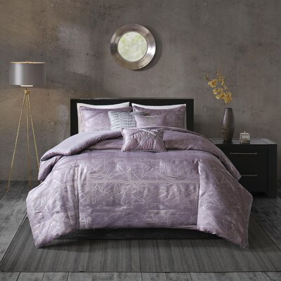 Marcel 6 Piece Duvet Cover Set Size: King/California King, Color: Purple