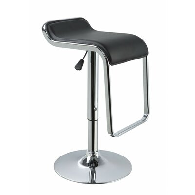 Clower Low Back Adjustable Height Upholstered Swivel Bar Stool Upholstery: Black