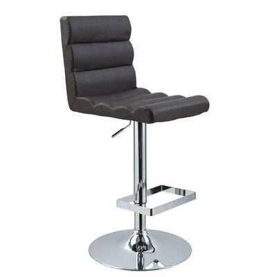 Belafonte Adjustable Height Swivel Bar Stool Upholstery: Brown