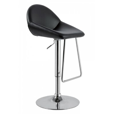 Camron Adjustable Height Metal Framed Swivel Bar Stool Upholstery: Black