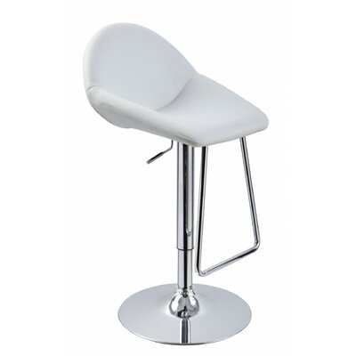 Camron Adjustable Height Metal Framed Swivel Bar Stool Upholstery Color: White