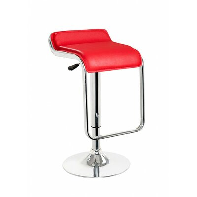 Clower Low Back Adjustable Height Upholstered Swivel Bar Stool Upholstery: Red