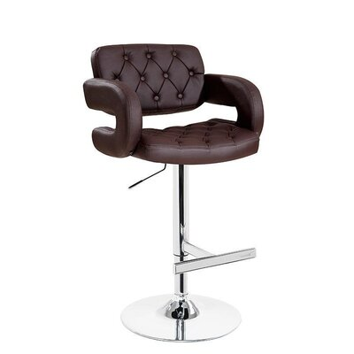 Camron Contemporary Adjustable Height Swivel Bar Stool Upholstery: Brown