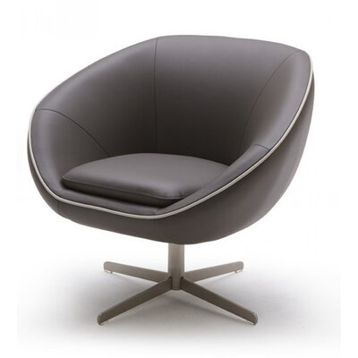 Coalpit Heath Leather Swivel Lounge Chair Seat Color: Gray