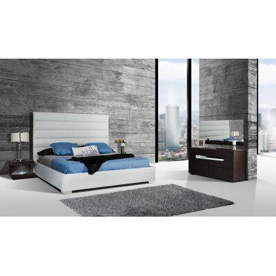 Clower Upholstered Platform Bed Size: King, Upholstery: White