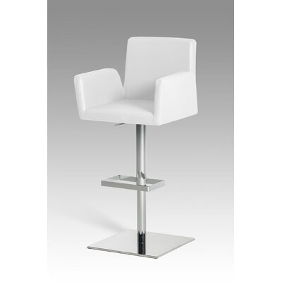 Clower Adjustable Height Upholstered Swivel Bar Stool with Footrest Upholstery: White