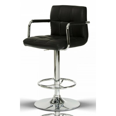 Clower Contemporary Footrest Adjustable Height Swivel Bar Stool Upholstery: Black