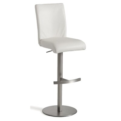 Clower Full Back Footrest Adjustable Height Swivel Bar Stool Upholstery: White