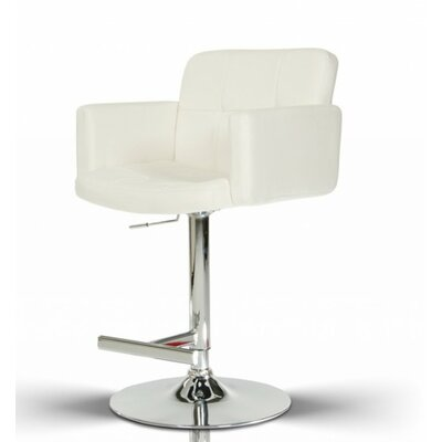 Belafonte Adjustable Height Swivel Bar Stool Upholstery: White