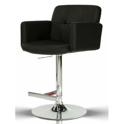 Belafonte Adjustable Height Swivel Bar Stool Upholstery: Black
