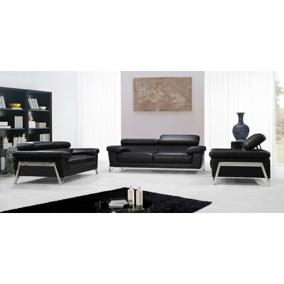 Coalpit Heath 3 Piece Leather Living Room Set Upholstery: Black