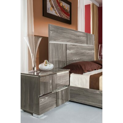 Camron Modern 2 Drawer Wood Framed Nightstand With LED Lights Finish: Gray
