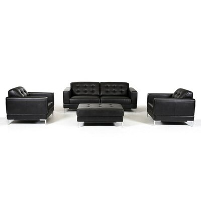 Cana Modern Solid Sofa Set Upholstery: Black