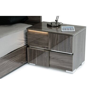 Camron Contemporary 2 Drawer Wood Framed Nightstand Finish: Gray