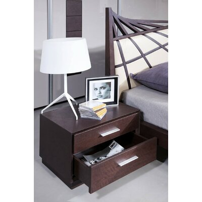 Camron 2 Drawer Wood Nightstand