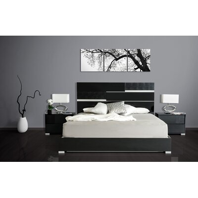 Camron Panel Bed Size: Eastern King, Color: Black