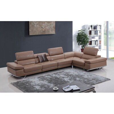 Cana Modern Leather Sectional Upholstery: Camel