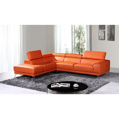 Cana Leather Sectional Upholstery: Orange, Orientation: Right Hand Facing