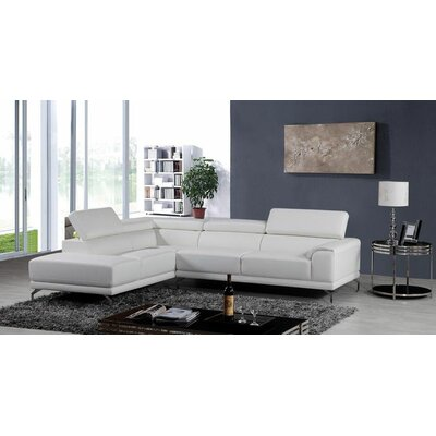 Cana Leather Sectional Upholstery: White, Orientation: Left Hand Facing