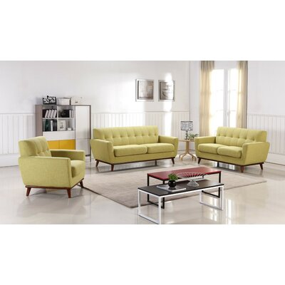 Athens 3 Piece Living Room Set Upholstery: Ginger