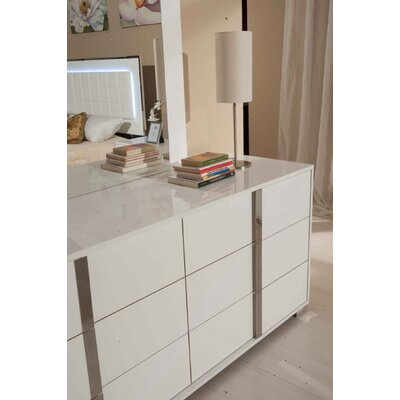 6 Drawer Dresser with 2 Nightstands Color: White